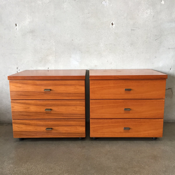 Pair of Mid Century Bif of Korea Teak Three Drawer Chests