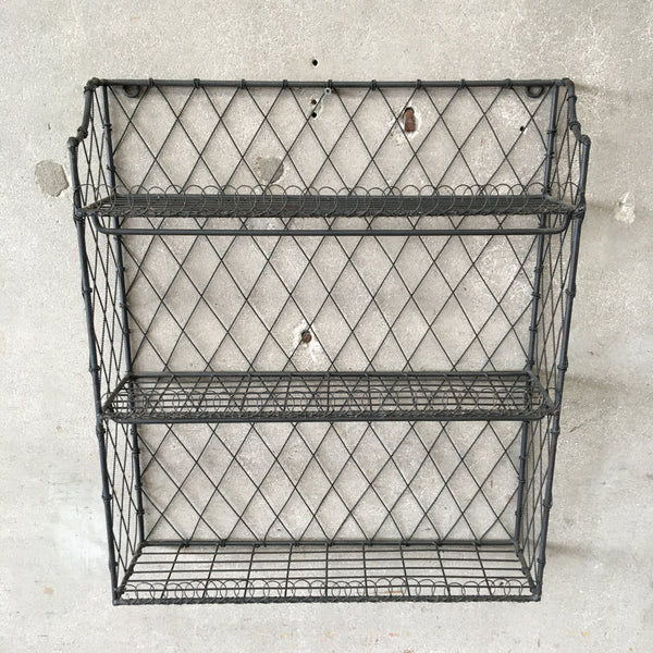 Industrial Iron Rod & Wire Three Tier Shelf