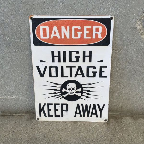 "Vintage Metal ""Danger High Voltage"" skull and cross bones Sign / circa 1930's"