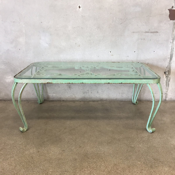 Heavy Vintage Iron and Glass Beveled Table
