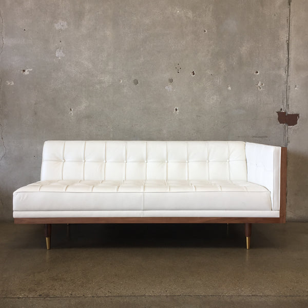 Mid Century Style White Leather Sofa
