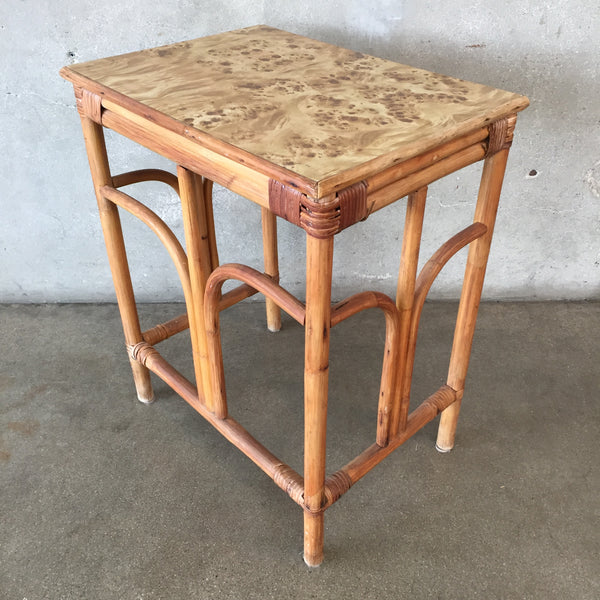 Vintage Bamboo & Rattan Entrance Table