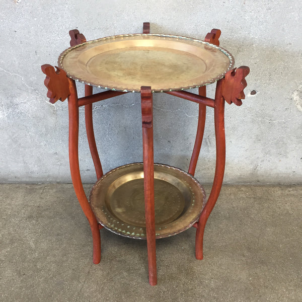 Vintage Brass Two Tiered Folding Table