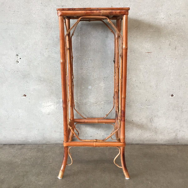 Vintage Square Rattan Plant Stand