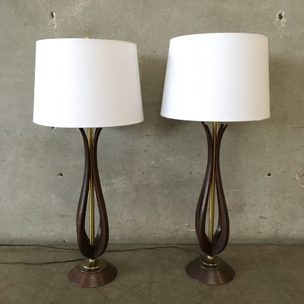 Pair of Mid Century Sculptural Wood Table Lamps