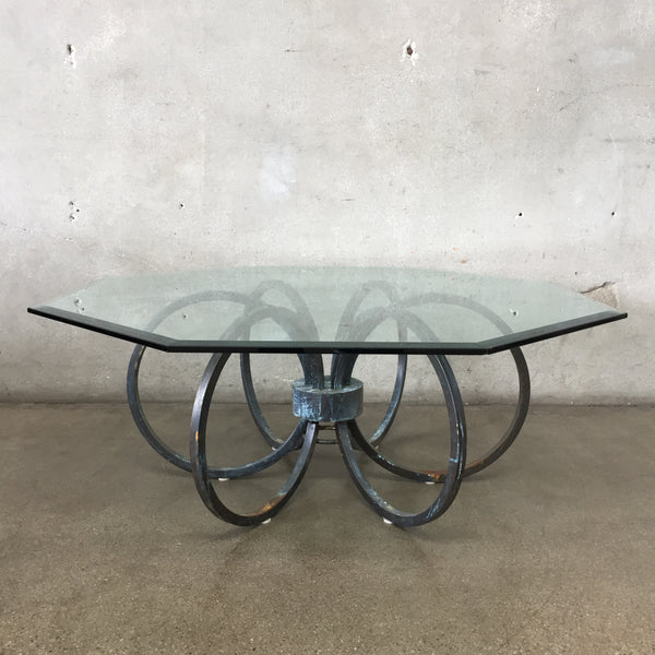 Vintage Metal & Glass Coffee Table