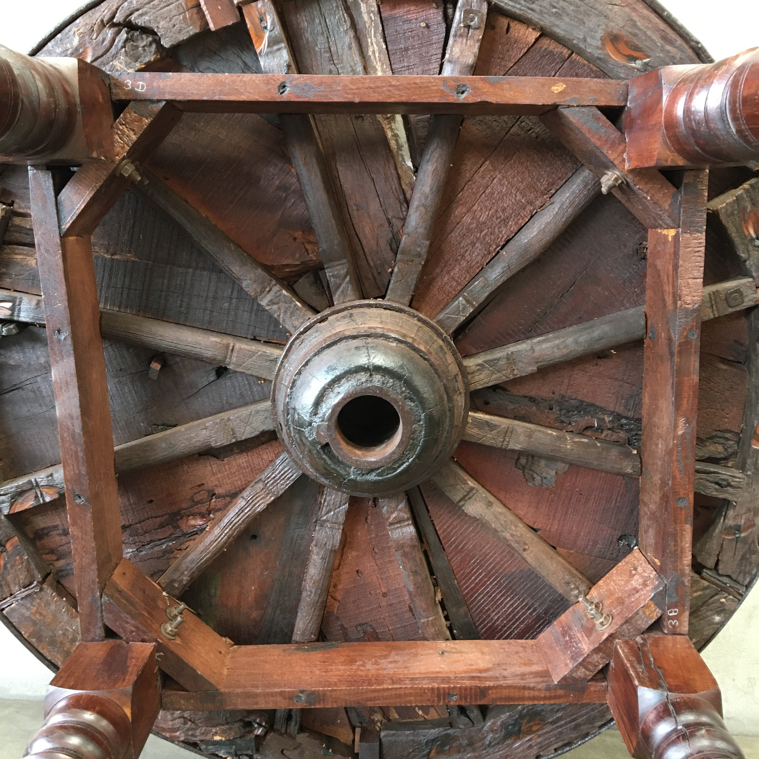Repurposed Dining Table From Antique Wagon Wheel