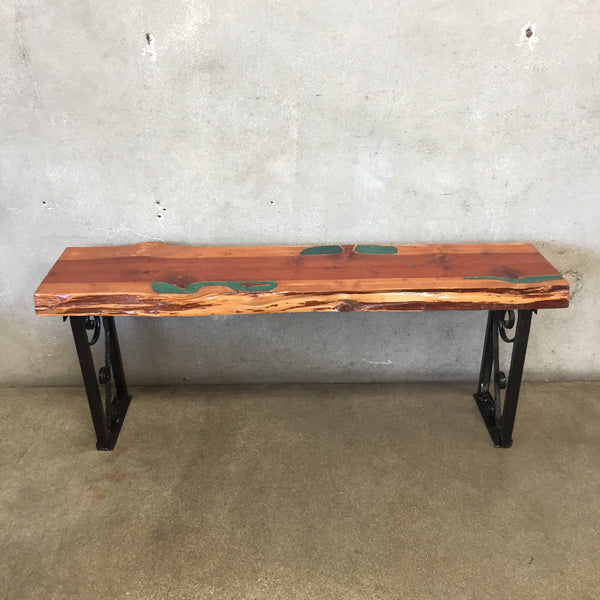 Custom Live Edge with Epoxy Redwood Bench