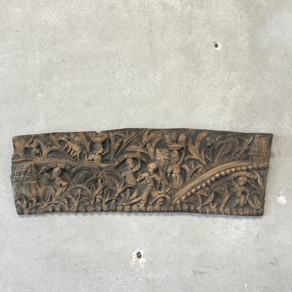 Mid Century Modern Carved Wood Folk Art Panel