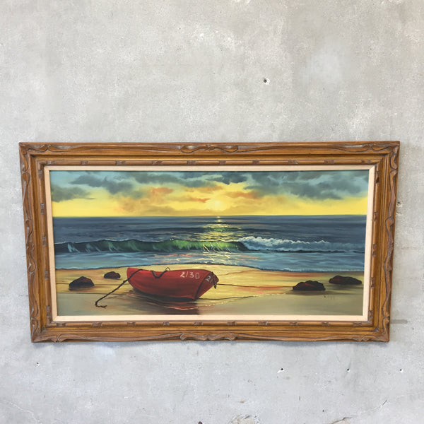 Large Vintage Seaside Painting
