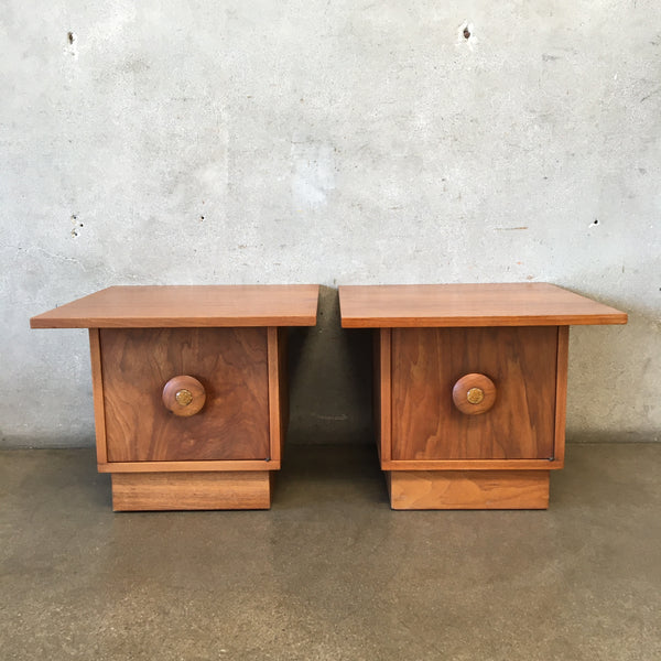 Pair of Mid Century John Keal for Brown Saltman Drum Cocktail Tables