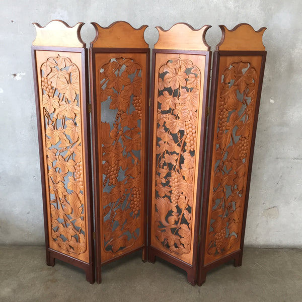 Hand Carved Wood Screen Room Divider