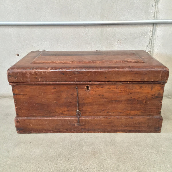 Vintage Wooden Locking Trunk / with Key