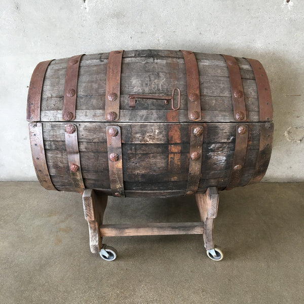 Vintage Wood Barrel Storage Trunk