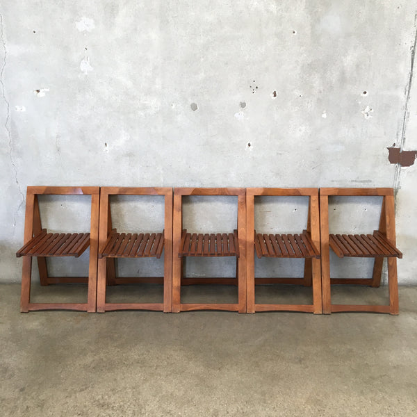 Set of Five Mid Century Wood Folding Chairs