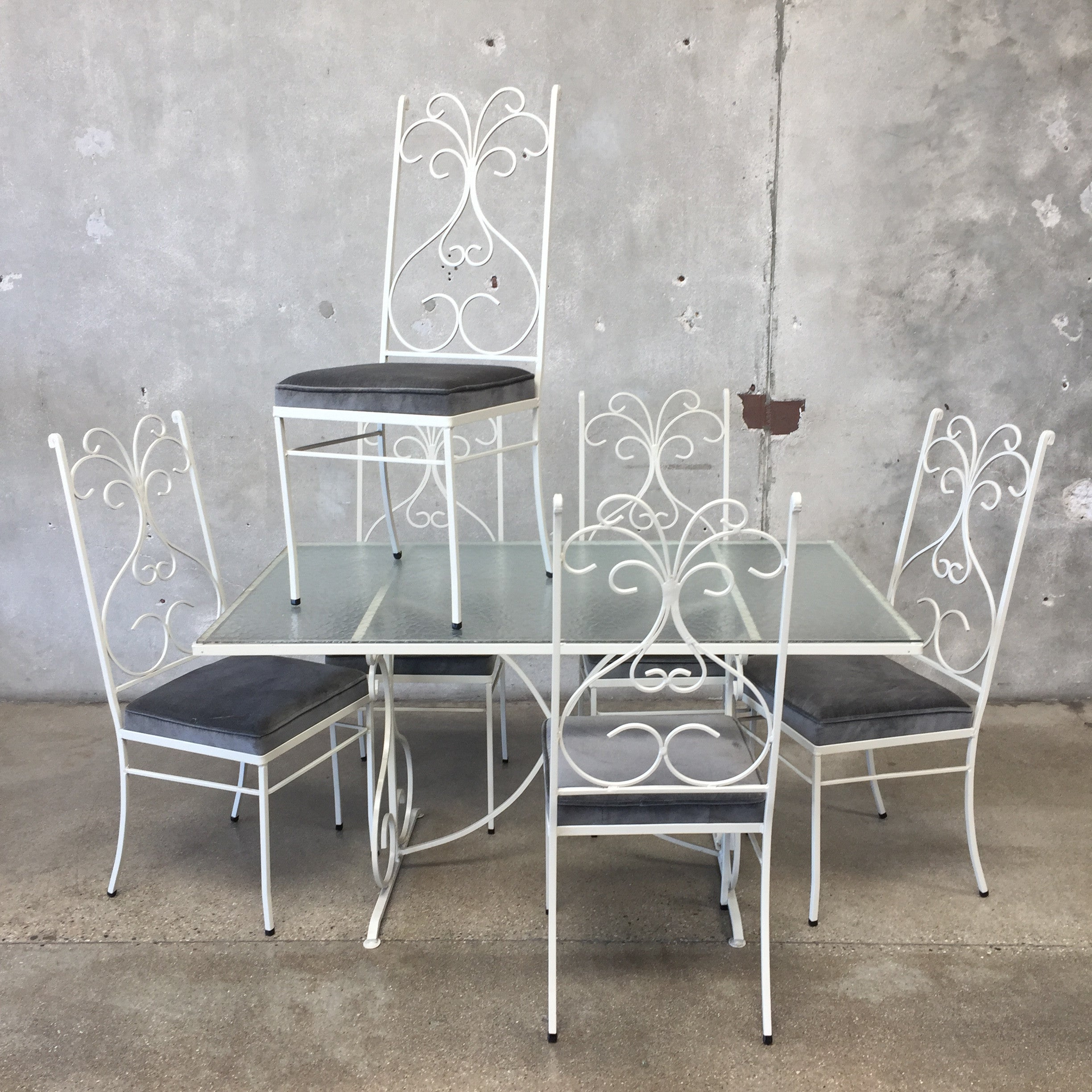 Regency Wrought Iron Glass Patio Table with Set of 6 Chairs