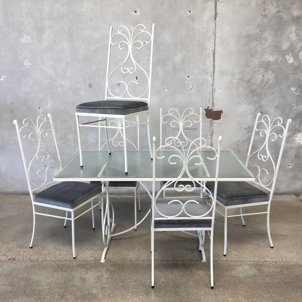 Regency Wrought Iron/Glass Patio Table with Set of 6 Chairs