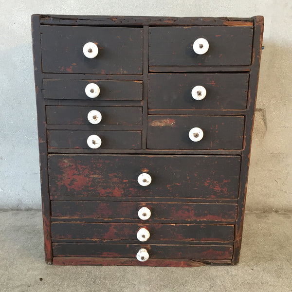 Vintage Wood Cabinet with Porcelain Knobs