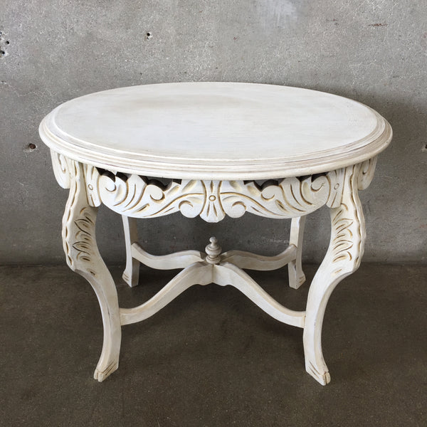 White Vintage Carved Wood End Table
