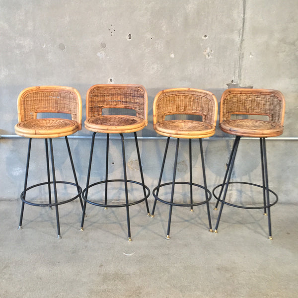 Set of Four Wicker Barstools