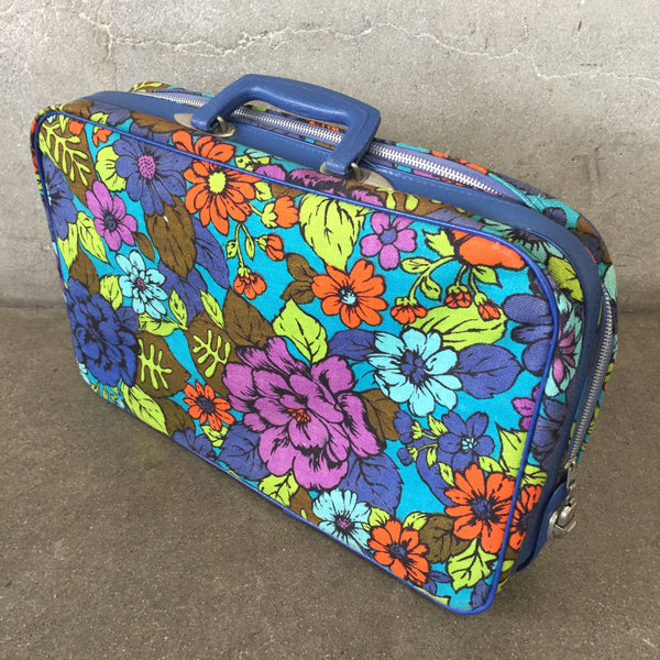 Psychedelic Hippie Suitcase with Flower Motif