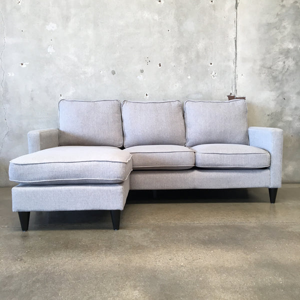 Mid Century Style Gray Sofa with Reversible Ottoman