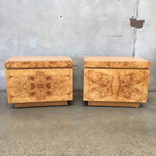 Pair of MCM Burl Wood Nightstands by Milo Baughman for Lane