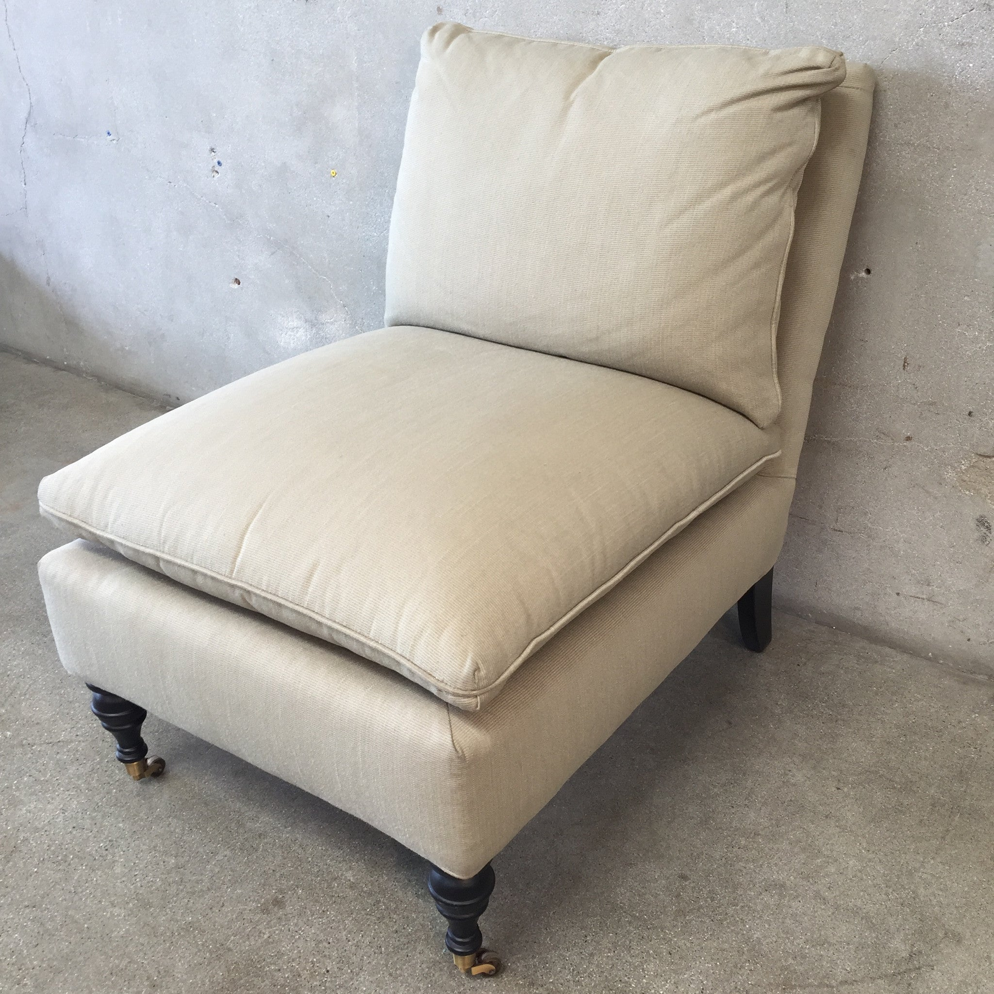 Description. Beautiful distressed leather ottoman by Mitchell Gold for Restoration Hardware. Please note one button tuft is missing. Beautiful distressed leather ottoman by Mitchell Gold for Restoration Hardware.