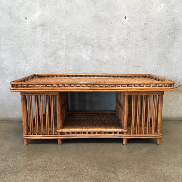 Mid Century Palececk Presidents Rattan Coffee Table