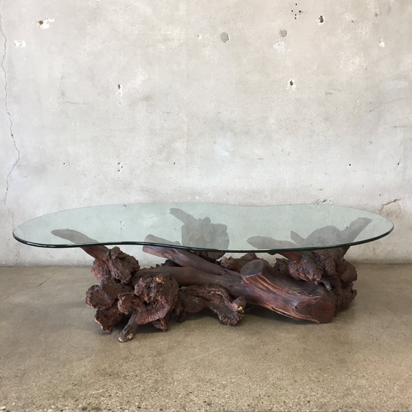 Vintage Mid Century Burl Wood Coffee Table
