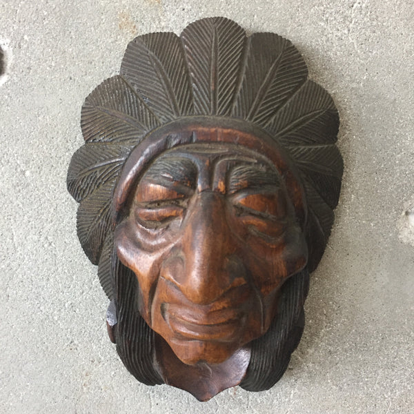 Wall Hanging Wood Carved Indian Head