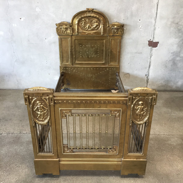 1900's Brass Victorian Bed with Cherubs