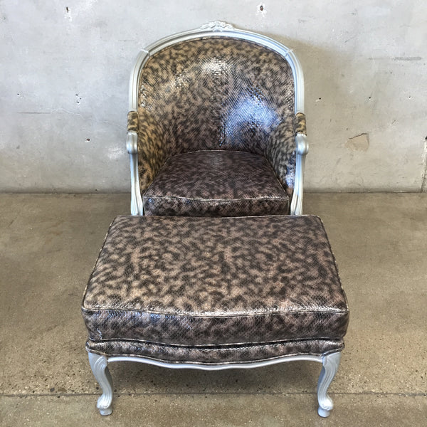 Faux Snake Skin Armchair with Ottoman