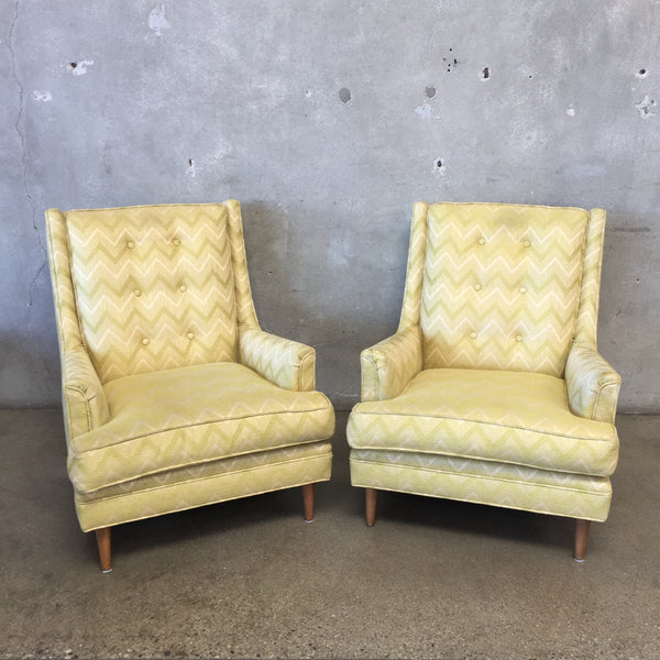 Pair of Mid Century Upholstered Lounge Chairs