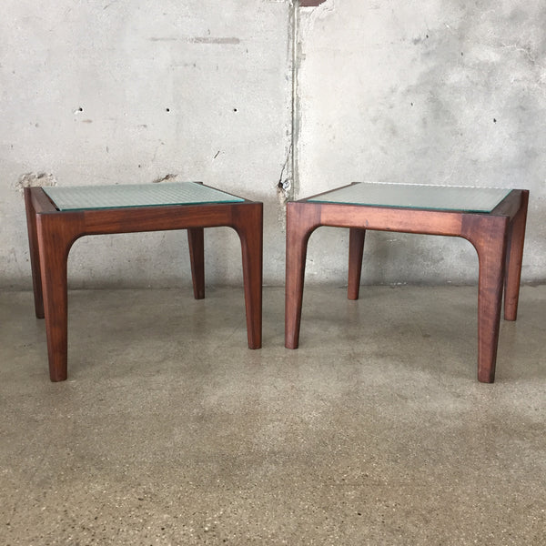Pair of Mid Century Glass Top Side Tables