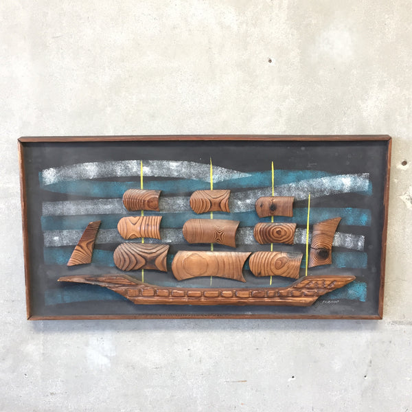 Mid Century Witco Sailing Ship Wood Relief