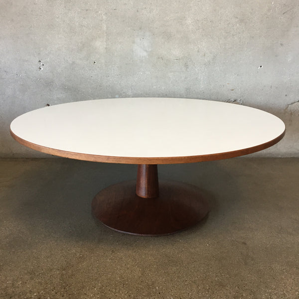 Mid Century Round Coffee Table with White Top