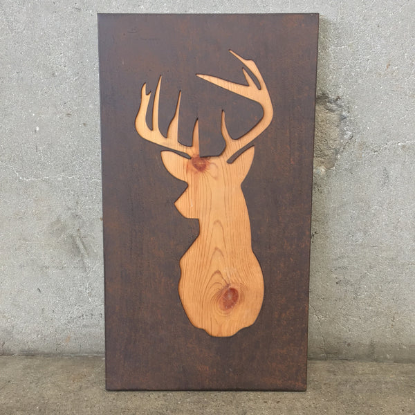 Laser Cut Metal Deer on Wood Wall Art