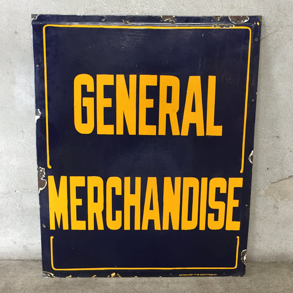 "Vintage Porcelain ""General Merchandise"" Sign"