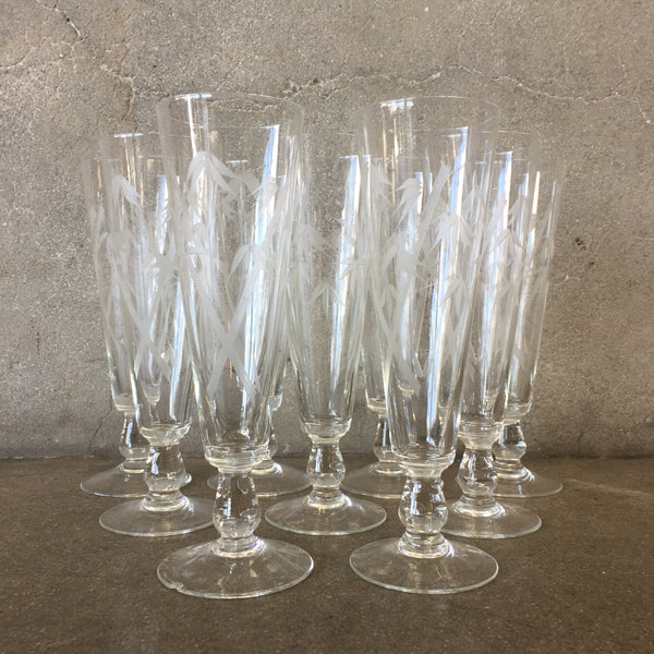 Set of 9 Vintage Barware Glasses with Bamboo Etching