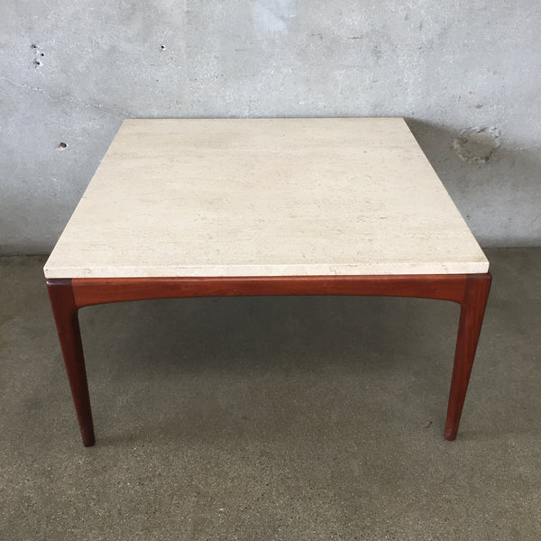 Mid Century Lane Rhythm Coffee Table with Travertine Top