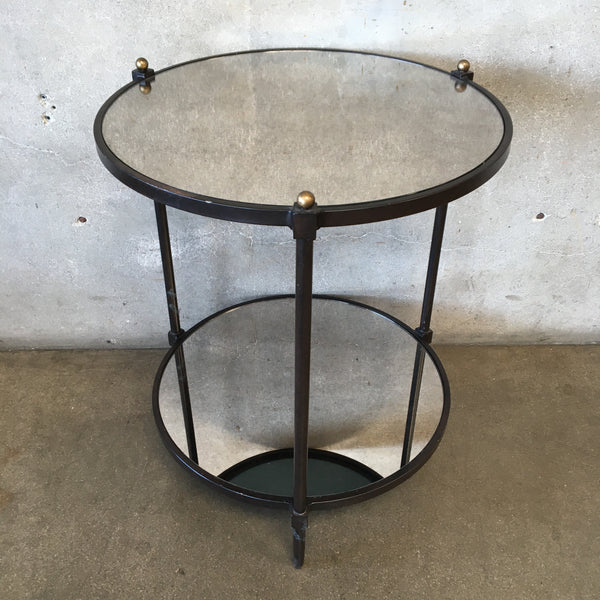 Mid Century Two Tier Side Table, Black and Gold