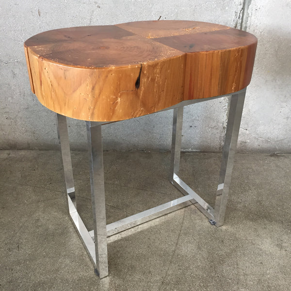 Chrome & Wood Top End Table
