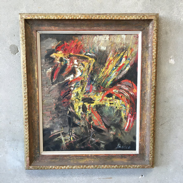 Italian Born French Painter Abstract Oil Painting of a Rooster