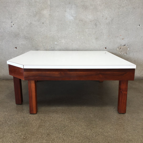 Mid Century Low Table with White Top