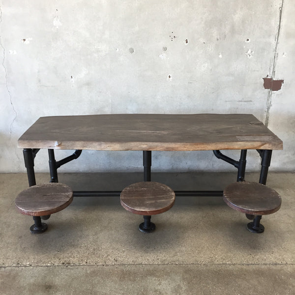Industrial Dining Table with Attached Stools