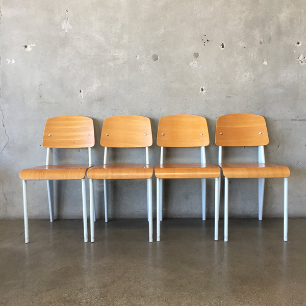 Set of Four Modern White Steel Frame & Bentwood Chairs
