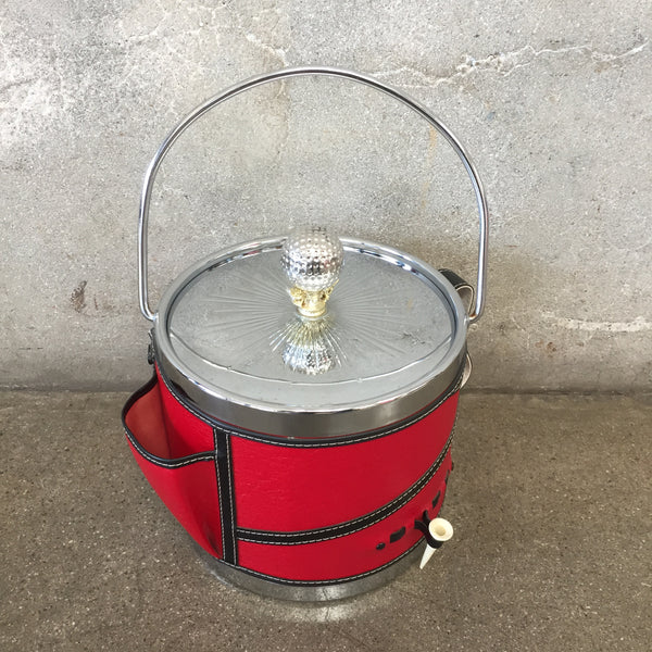 Mid Century Golf Theme Red Ice Bucket