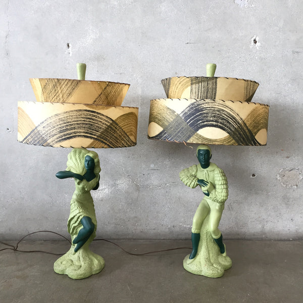 Vintage 1950's Green Lamps With Shades
