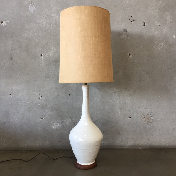 White Ceramic Mid Century Lamp